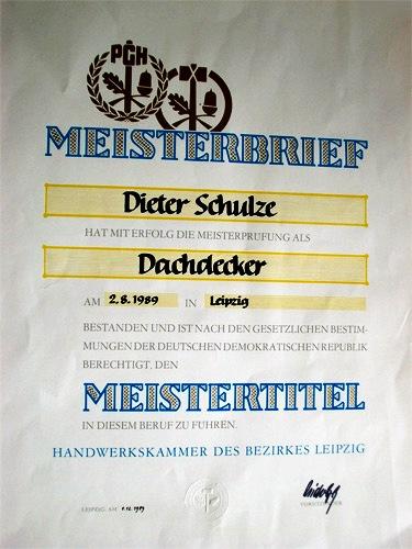 Meisterbrief Dieter