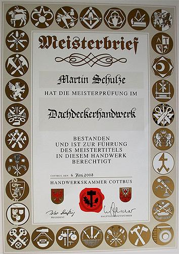 Meisterbrief Martin